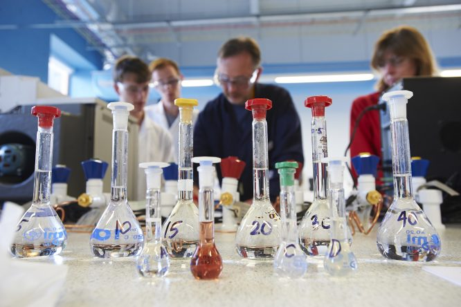 Students working in the Lab, Department of Chemistry